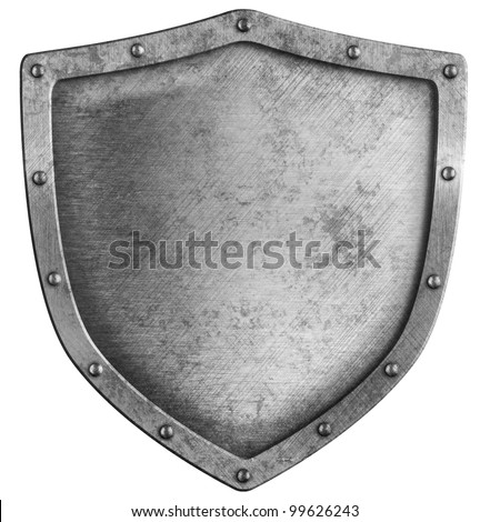 aged metal shield isolated on white