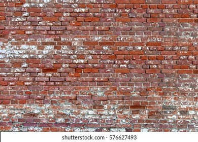 Aged Old Red White Grey Gray Brick Wall Texture Background Studio Backdrop Horizontal Wallpaper. Abstract Web Design Element. Shabby Wall Structure Material Surface. Urban Graffiti Wall Or Fence