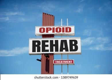 Aged opioid addiction rehab treatment sign