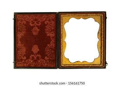 aged ornate Daguerreotype embellished picture case for tin photos on a white background