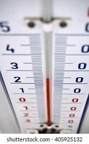 Aged outdoor thermometer in the retro design measuring mild temperature of twenty degrees of Celsius