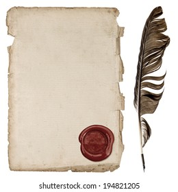 aged paper sheet with wax seal and ink feather pen isolated on white background
