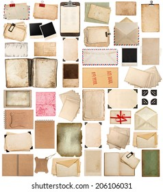 aged paper sheets, books, pages and old postcards isolated on white background. vintage photo frames. antique clipboard and photo corner