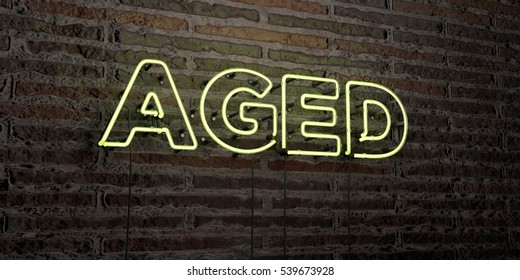 AGED -Realistic Neon Sign on Brick Wall background - 3D rendered royalty free stock image. Can be used for online banner ads and direct mailers.