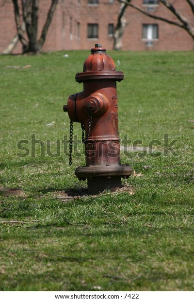 aged red fire hydrant