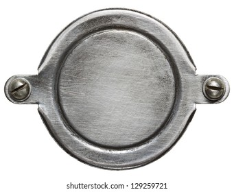 Aged round metal plate texture, background