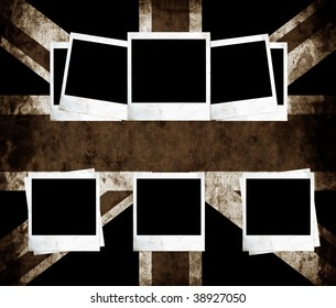 Aged UK flag with blank photo frames