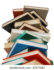 An aged valuable textbook pile