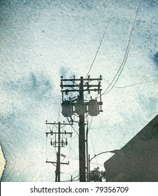 aged vintage photo of urban sky with utility poles