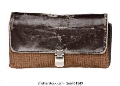 Aged wallet isolated on white background. With clipping path