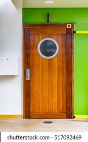 Aged wooden door with retro porthole on deck of cruiser. Wooden cruise ship bathroom door & Boat Door Images Stock Photos \u0026 Vectors | Shutterstock