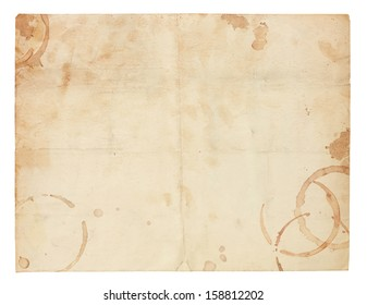Aged and worn paper with creases, coffee ring stains and smudges. Includes clipping path.