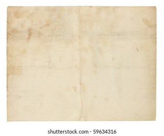 Aged and worn paper with creases, stains and smudges. Includes clipping path.