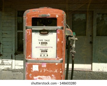 aged and worn vintage gas pump