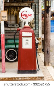 The aged and worn vintage gas pump