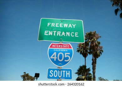 aged and worn vintage photo of california freeway sign
