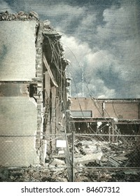 aged and worn vintage photo of destroyed building after disaster
