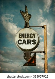 aged and worn vintage photo of energy car sign sign