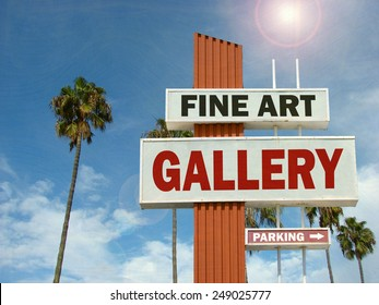 aged and worn vintage photo of fine art gallery sign with bright sun