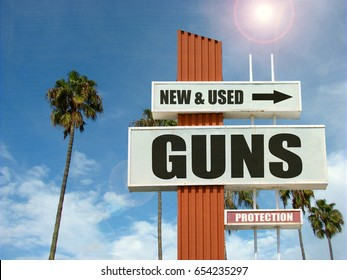 aged and worn vintage photo of gun store sign with palm trees