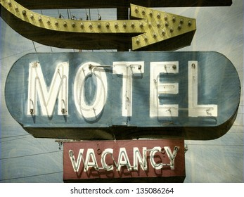aged and worn vintage photo of motel sign