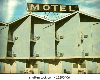 aged and worn vintage photo of old motel