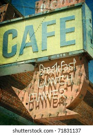 aged and worn vintage photo of old abandoned cafe and neon sign