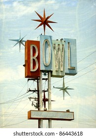 aged and worn vintage photo of old demolished bowling alley sign