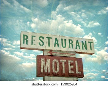 aged and worn vintage photo of restaurant and motel sign