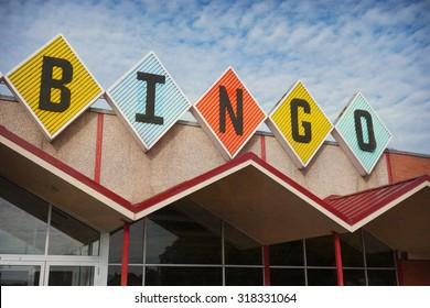 aged and worn vintage photo of retro bingo sign