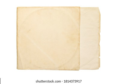 Aged yellow paper cover for vinyl LP record isolated on white background