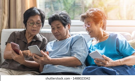 Ageing society concept with Asian elderly senior adult women sisters using mobile digital smart phone application technology for social media network among friends community via internet communication