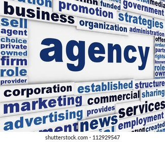 Agency poster design. Commercial activity message backround