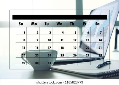 Agenda Activity on conputer Business man Making Agenda Information Calendar Events and Meeting Organizer