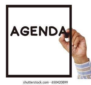 Agenda hand writing isolated on white background