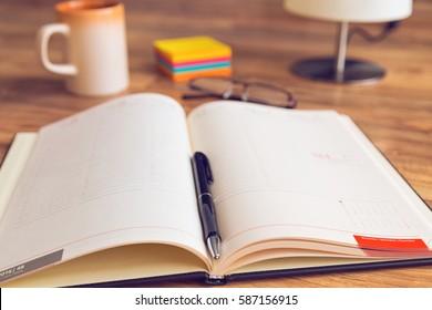 Agenda organizer with pen