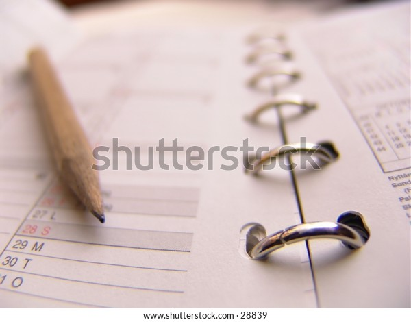 Agenda and pencil, shallow Depth of field