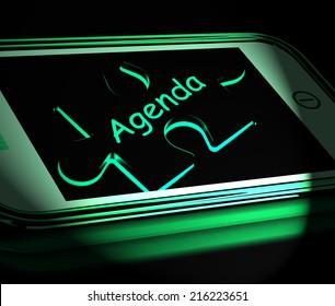 Agenda Smartphone Displaying Internet Calendar And Schedule
