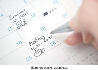 agenda in time planner or calendar
