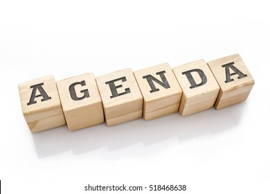 AGENDA word made with building blocks isolated on white