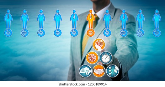 Agent using an artificial intelligence app to find a successful candidate in a virtual talent pool. Business concept for the use of AI in interviewing and talent assessment to speed up recruitment.