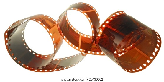 an age-old film is involute chaotically on a white background