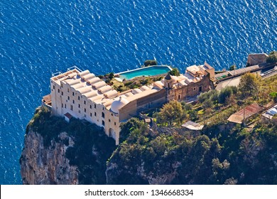 Agerola, Italy - December 31, 2018: The Santa Rosa Da Lima Conservatory, founded in 1681, is a former Dominican monastery, now a luxury hotel, in Conca dei Marini, set on a cliff to dominate the coast