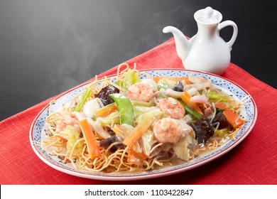 Age-Yakisoba (chop suey on deep-fried noodles, japanese cuisine)