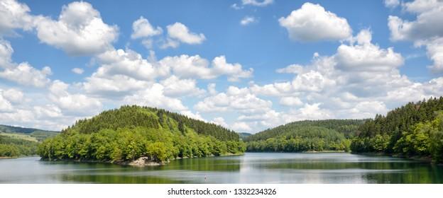 Agger Reservoir in Bergisches Land near Gummersbach,North rhine westphalia,Germany
