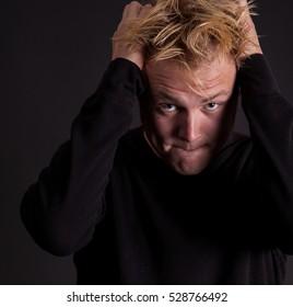 Aggravated teenage boy