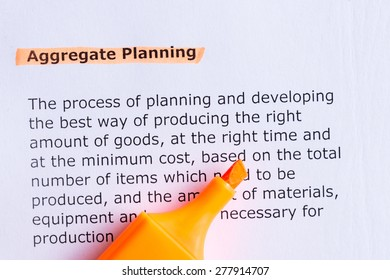 aggregate planning  word highlighted  on the white paper