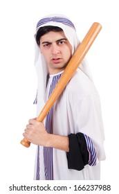 Aggressive arab man with baseball bat on white