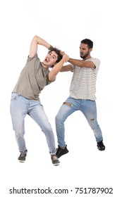 The aggressive conflict between two men. Isolated on white background.