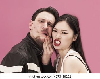 Aggressive couple portrait